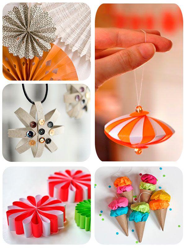 5 adornos caseros de papel para el rbol de Navidad Pinterest