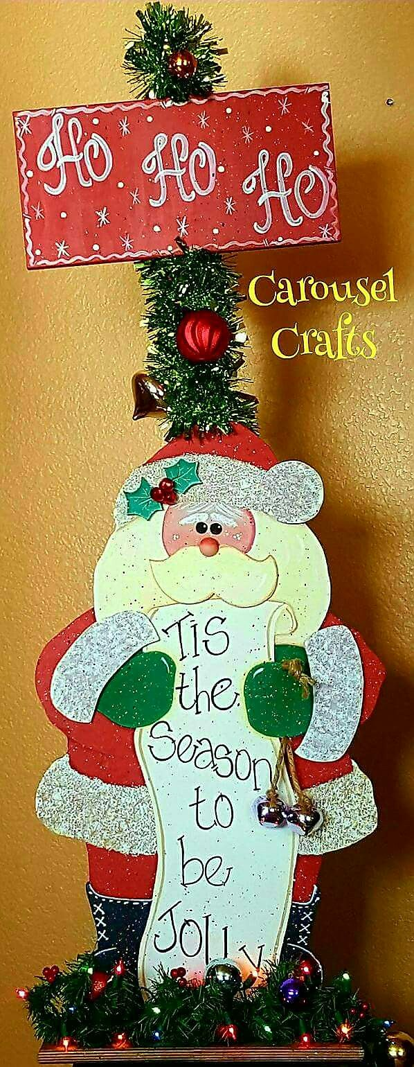 Cute Christmas Craft Tall Santa Wood CraftSanta Checking His List