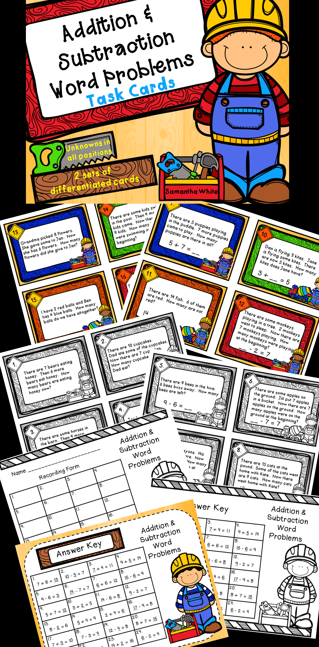 Addition Amp Subtraction Word Problems Differentiated Task Cards