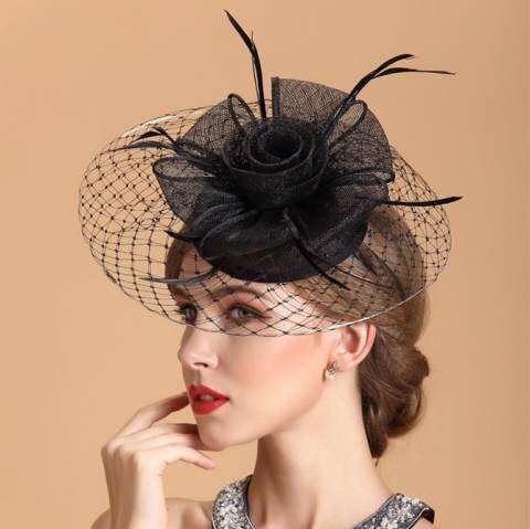 619e0ce81b2 Black flower pillbox hat with a veil for ladies elegant fascinator hats