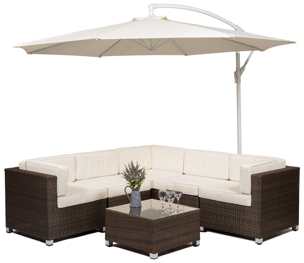 Ratan Garden Furniture Composed Of Corner Seating Coffee Table And Umbrella Photographed On A Wh Rattan Garden Furniture Corner Sofa Set Rattan Furniture Set