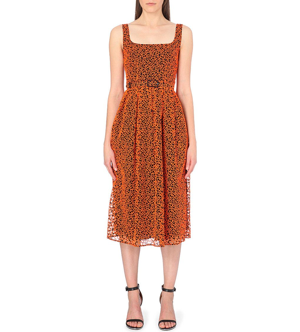 Christopher kane broderie anglaise midi dress blackneon orange