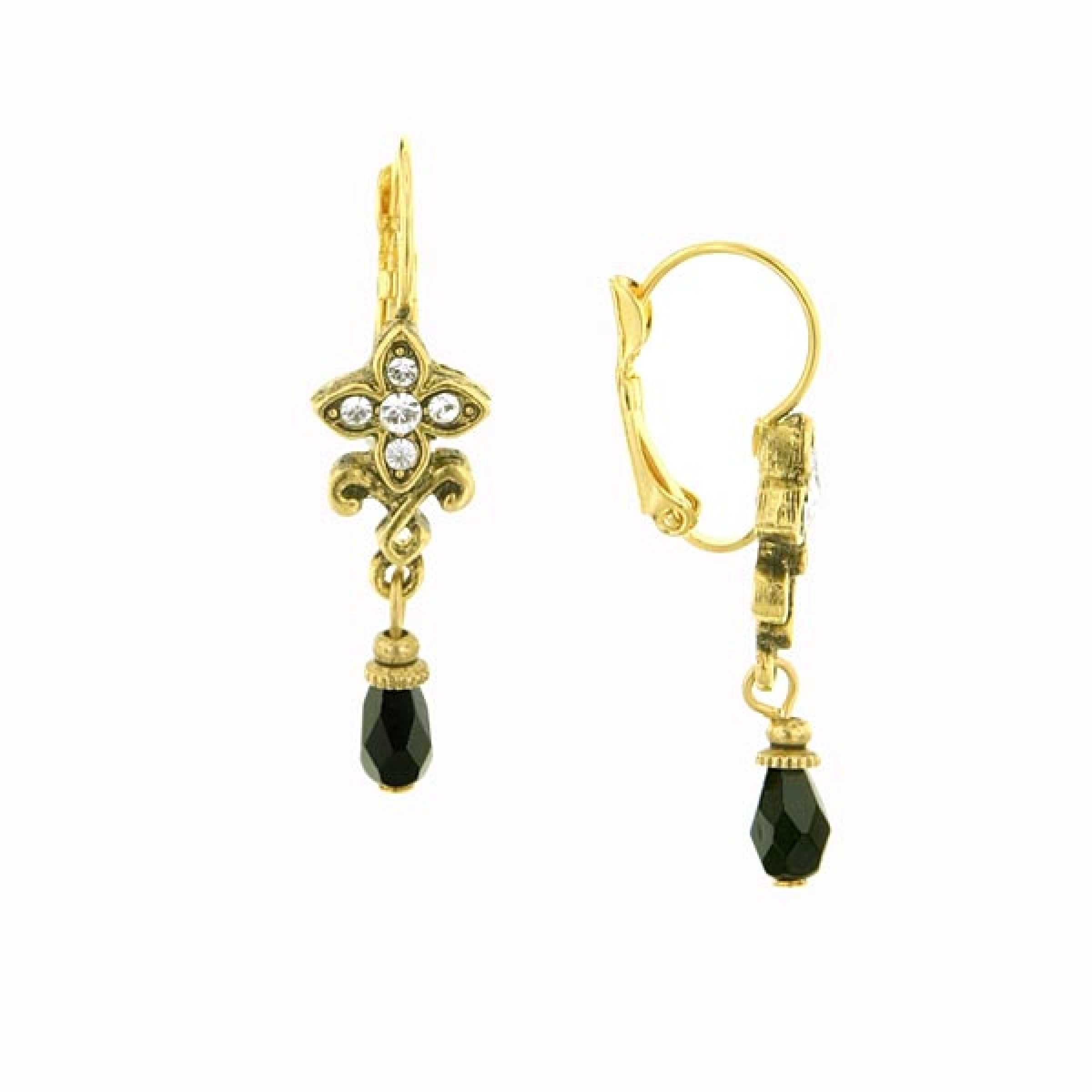 Gold/Jet/Crystal Floral Bead Drop EarringAn antique-inspired petite gold tone drop earring that features genuine Swarovski crystals and black multi-faceted beads. The earrings have lever back closures.#vintagejewelry #fashionjewelry #costumejewelry #bridaljewelry #antiquejewelry