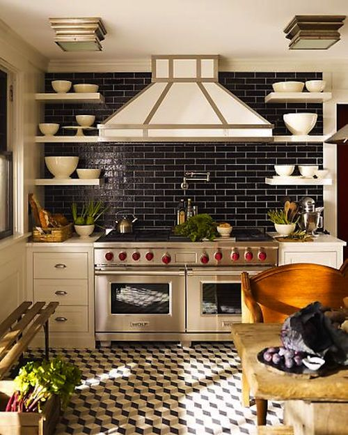 Love the mix of the subway tiles and the smaller pattern on the floor.  Well done.