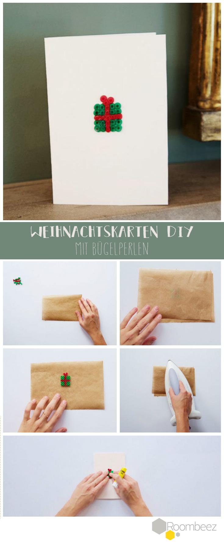 Einfaches DIY für moderne Weihnachtskarte  Die Bügelperlen wecken in uns schöne Kindheitserinnerungen! ➳ Weitere Ideen für Weihnachtskarten findet Ihr auf Roombeez!