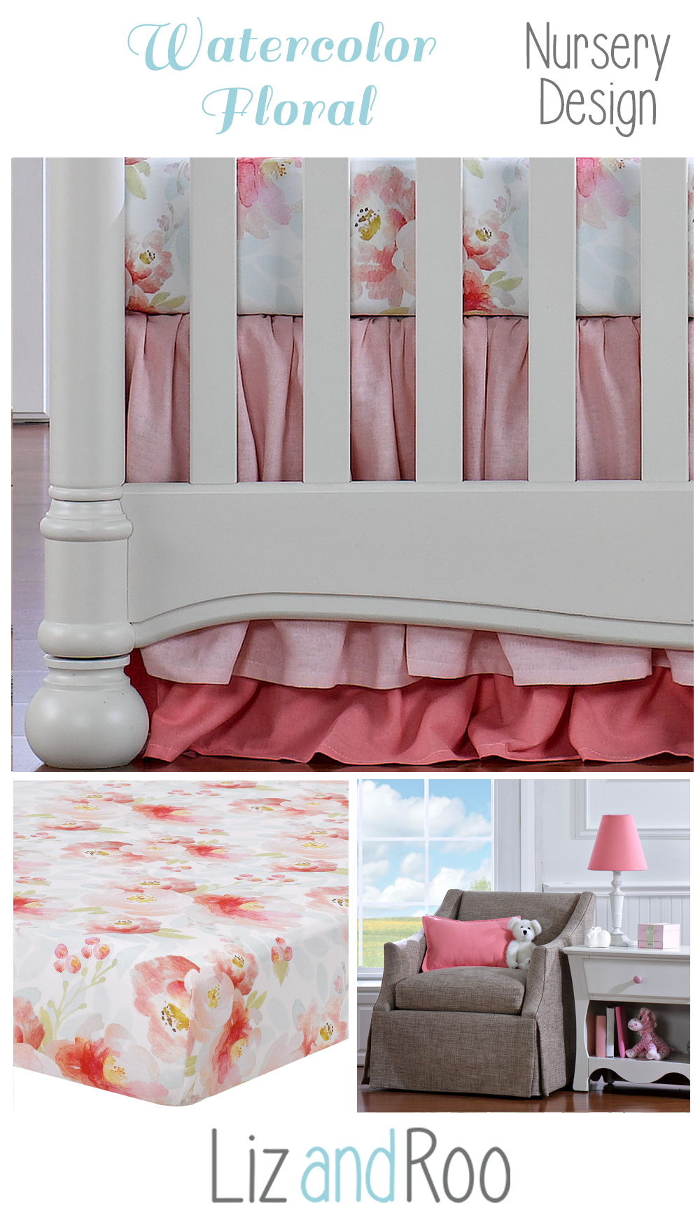 Floral Nursery Bedding New Watercolor Floral Bumperless Crib Bedding  Floral Nursery Nursery Design Decoration