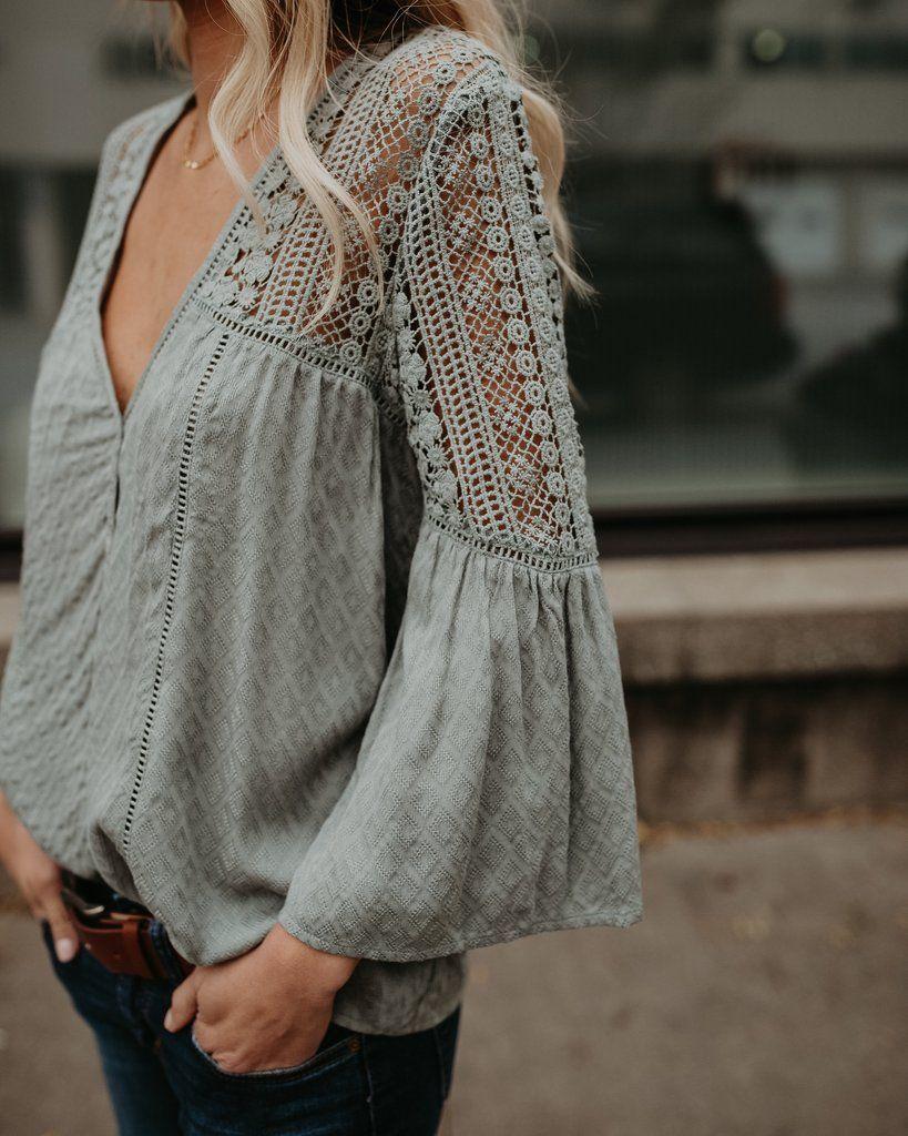 Du Jour Crochet Blouse - Sage   Blusa   Blouse, Crochet blouse y Crochet dcfc81c0ee