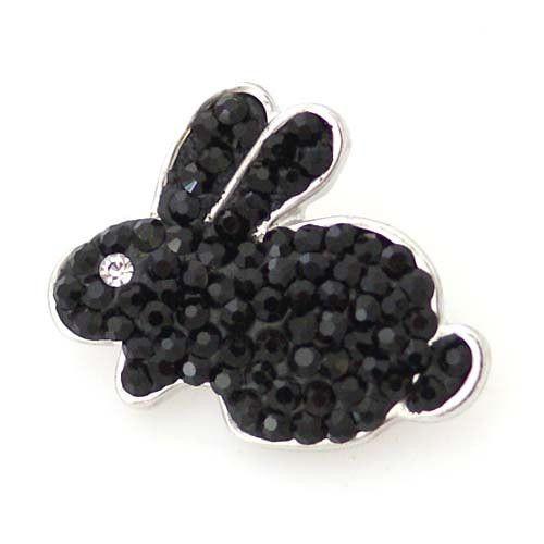1 PC 18MM Crab Animal White Black Rhinestone Silver Snap Charm KB5243 CC0116