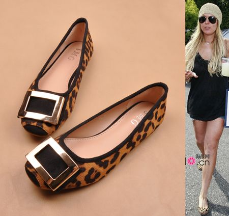 New fashion women's square toe sexy leopard metal buckle ballet ...