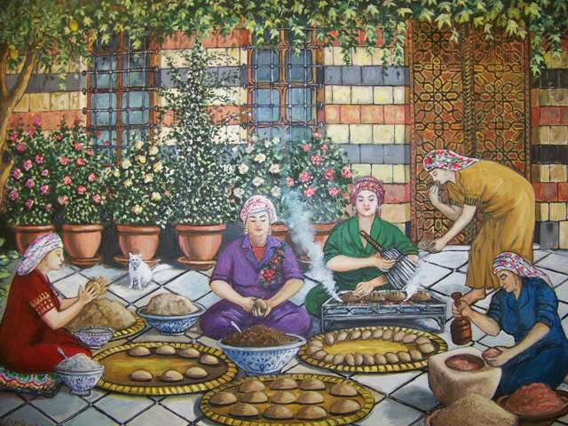 لوحة من التراث الدمشقي Heritage Of Damascus Traditional Syrian Women Cooking In Their Arabic House Yard Arabian Art Arabic Art Art
