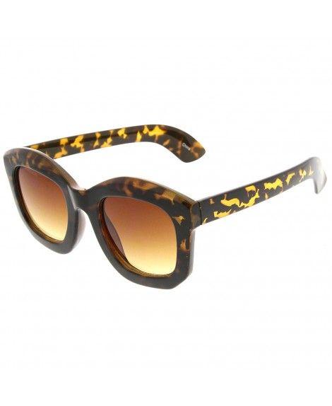 befafad1ec3 Oversized Thick Frame Angled Edge Horn Rimmed Sunglasses - Shiny ...