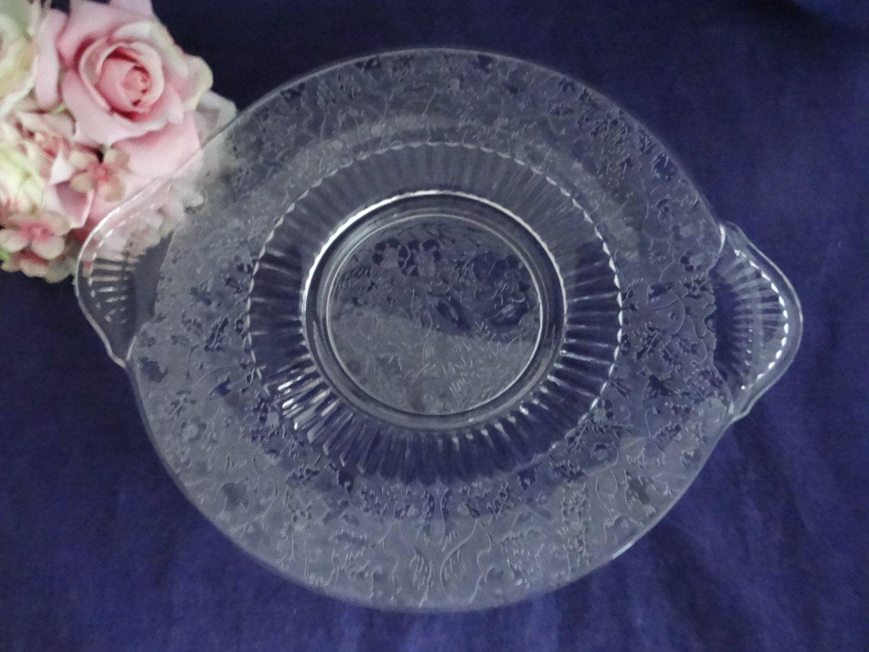 Vintage Bird And Vine Etched Glass Handled Plate Platter Large