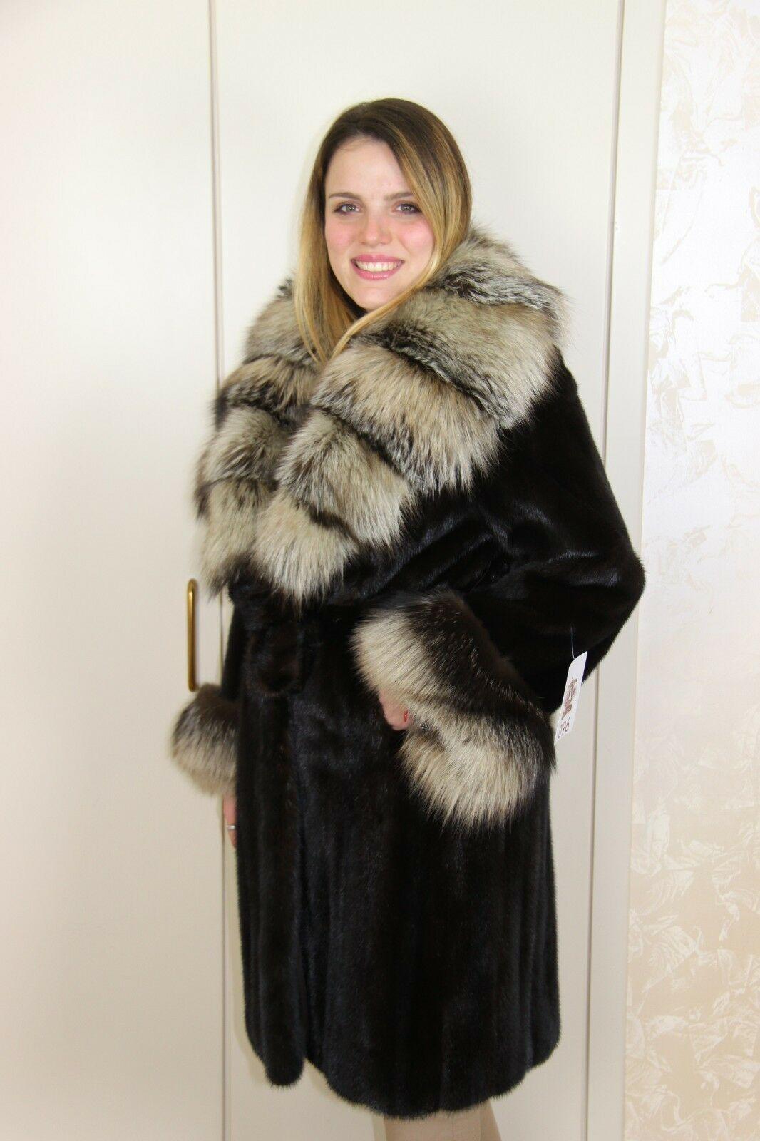 half off 49d68 01b5f Details about Mink Coat Hooded Fox Pelliccia Visone Fuchs ...
