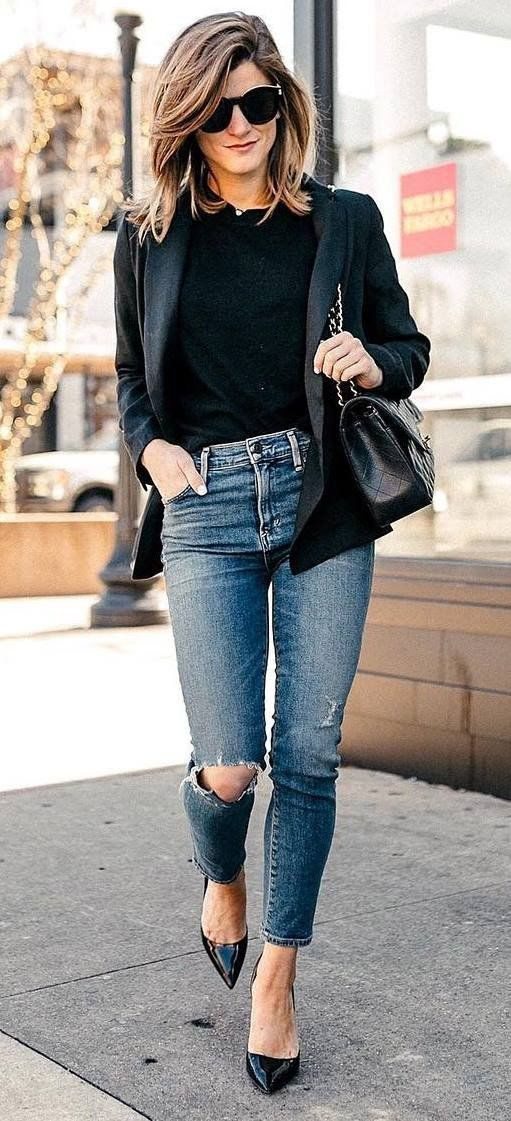 Office Style Obsession Black Blazer Bag Top Ripped Jeans Heels