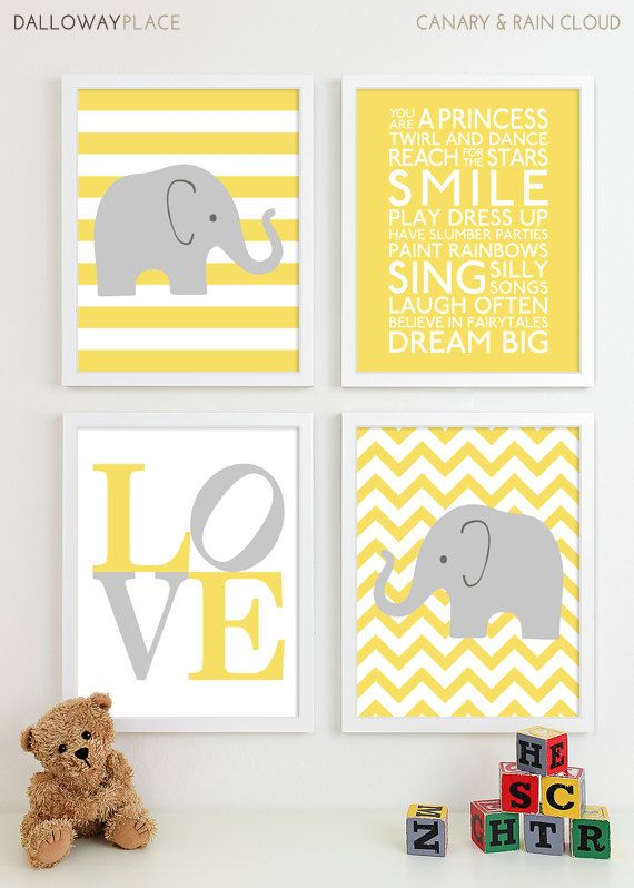 Baby Girl Nursery Art Chevron Elephant Nursery Prints, Kids Wall Art ...