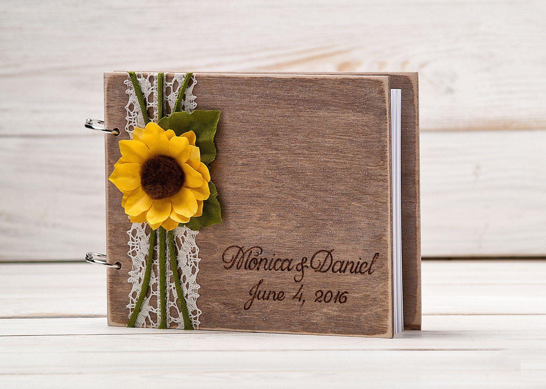 Wooden Guest Book Sunflower Wedding Guestbook Vow Books