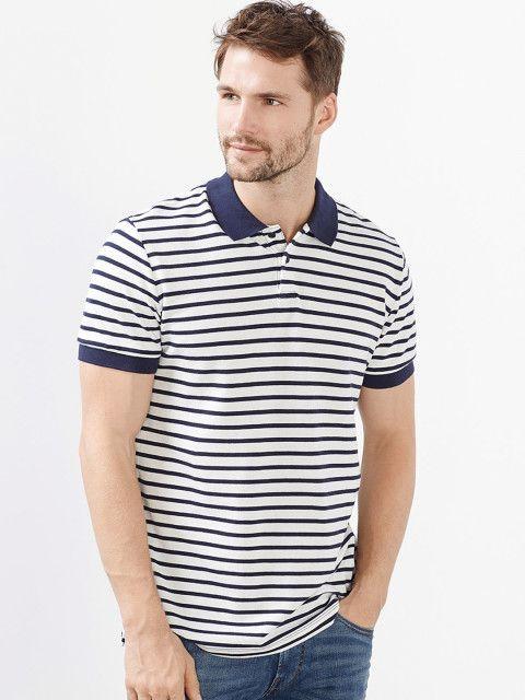 40dfb157bf Buy Allen Solly Men Blue & White Striped Polo Collar T Shirt - Tshirts for  Men | Myntra