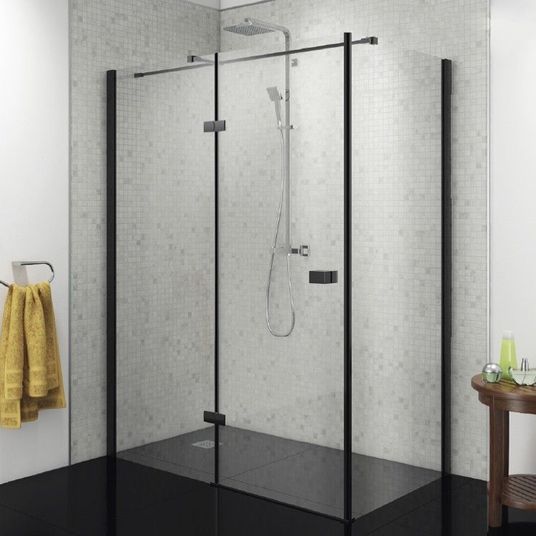 Black Left Hand Hinged Shower Enclosure 1000mm Kaso 8 Star By Voda Design 8mm Thick Shower Doors Shower Enclosure Black Shower