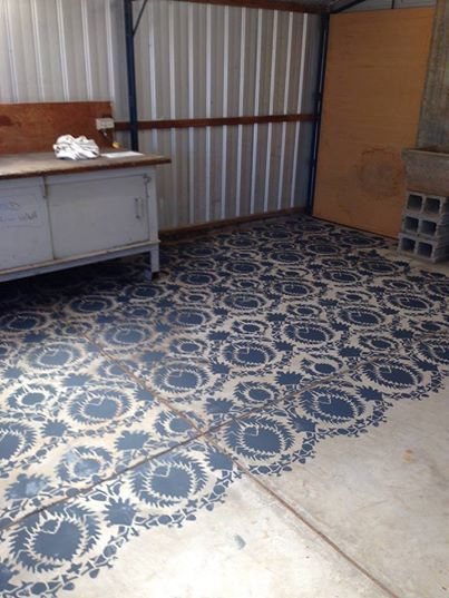 Silk road suzani wall stencil stenciled painted floors for Garage flooring adelaide