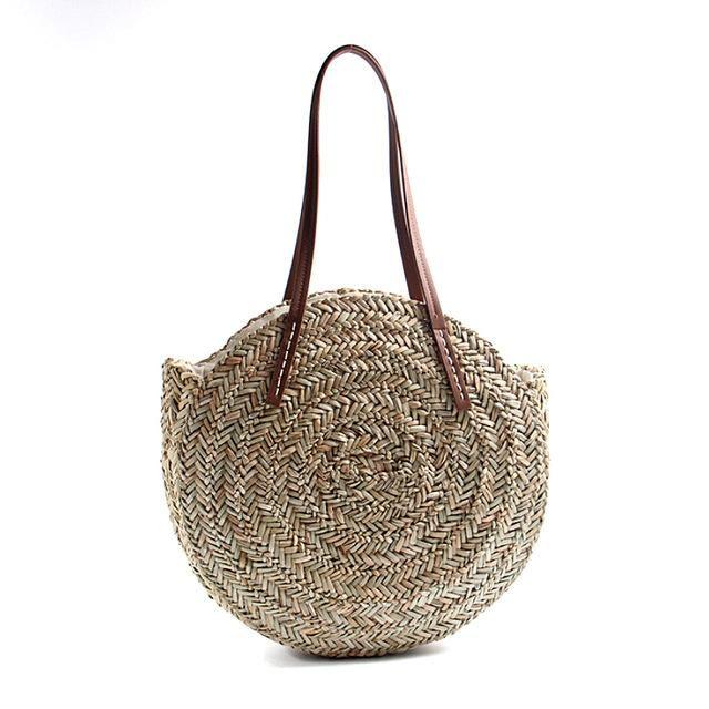 Large Round Straw Shoulder Bag | Shoulder bag fashion, Round