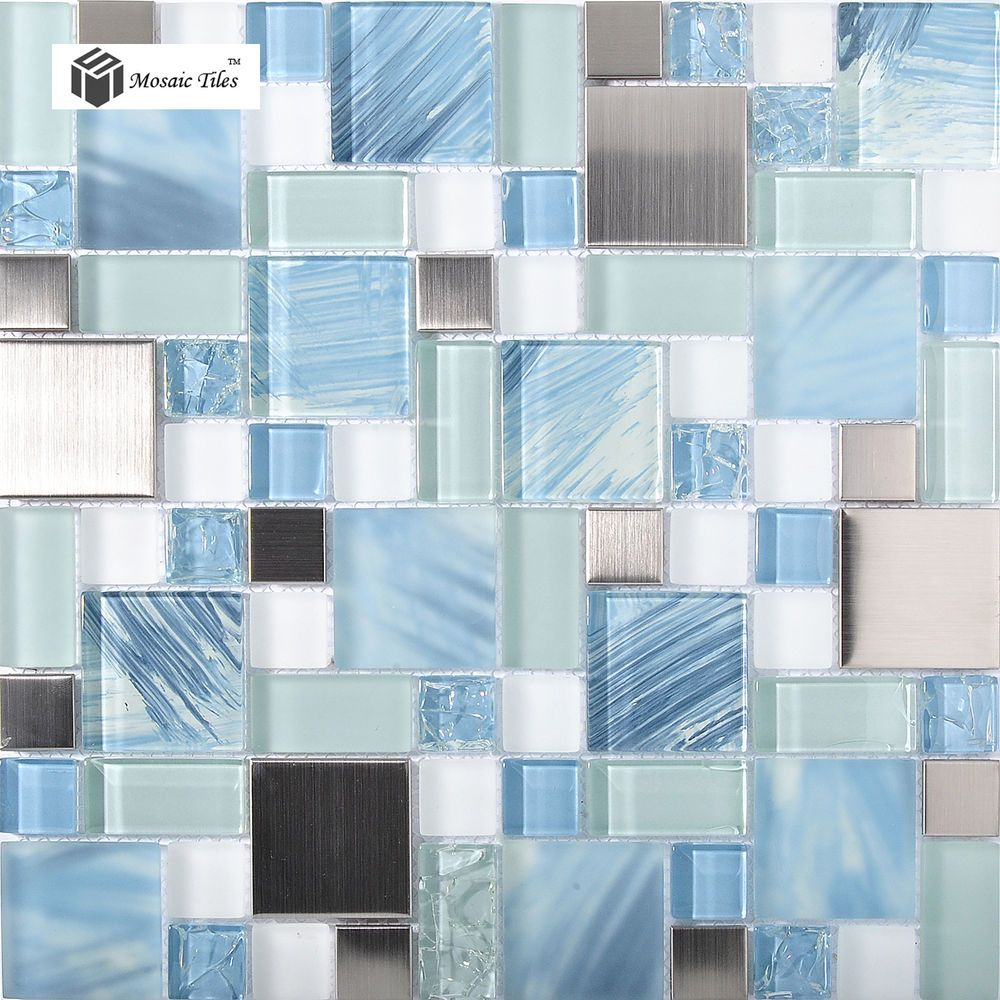 Glass Hand Painted Mosaic Tiles Sea Blue Kitchen Backsplash Bathroom ...