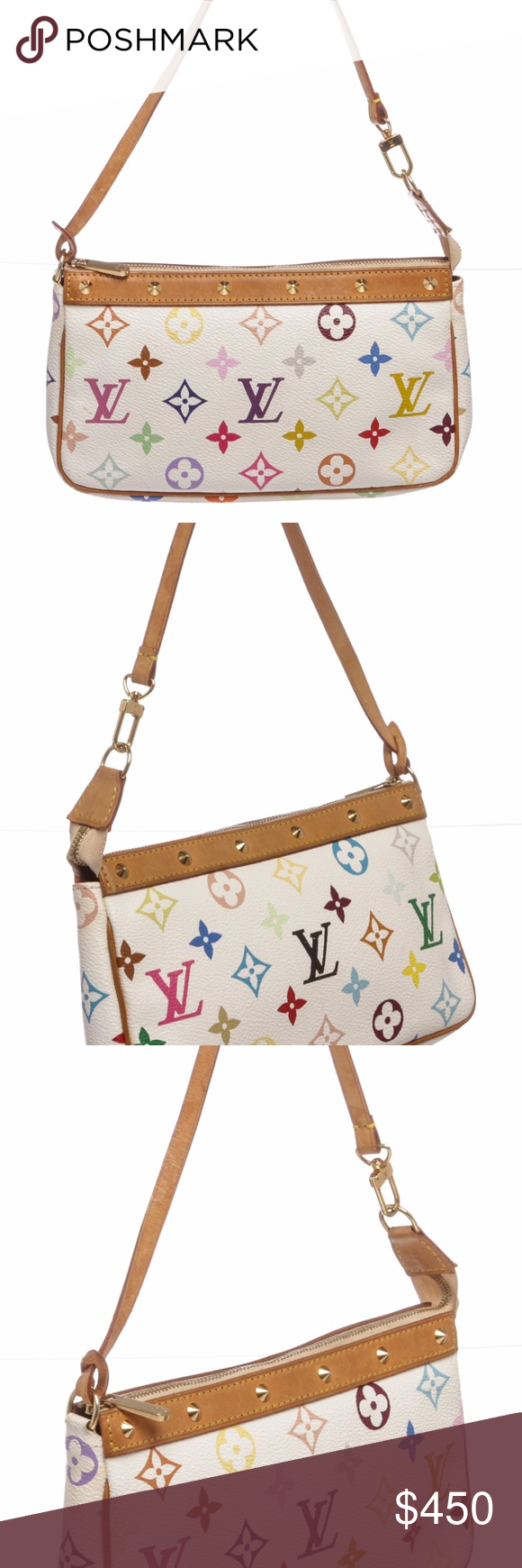33c9d6ae0a87 Louis Vuitton White Multicolor Monogram Pochette From the Takashi Murakami  Collection. White and multicolore monogram