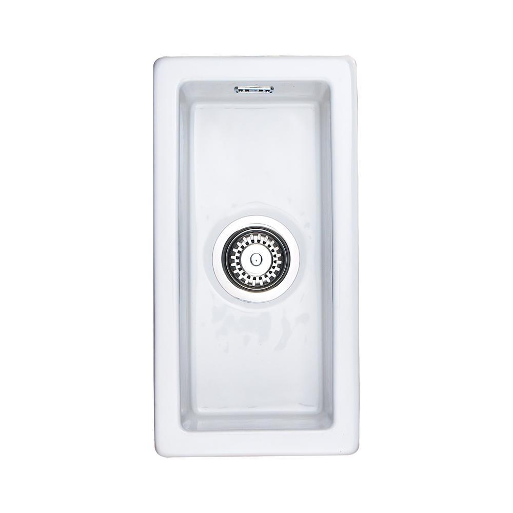 Rangemaster Rustique 0 5 Bowl White Ceramic Undermount Kitchen Sink Crub4825wh