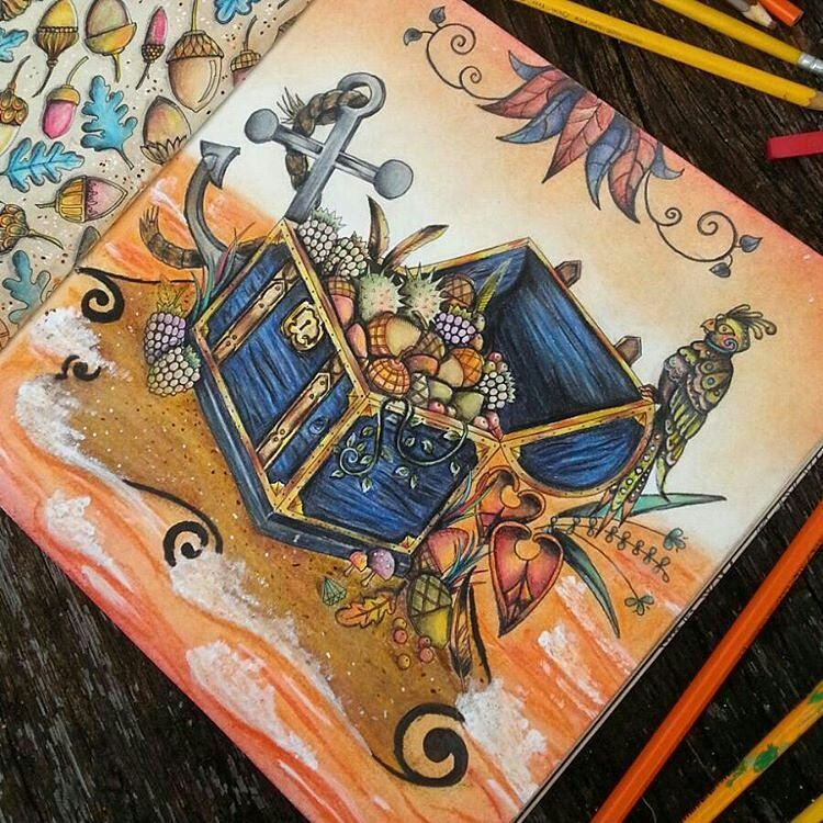 «Colorido super lindo e criativo!!!!! @Regrann from @himariemonici -  #enchantedforest #coloringbook #drawing #treasure #pirate #florestaencantada…»