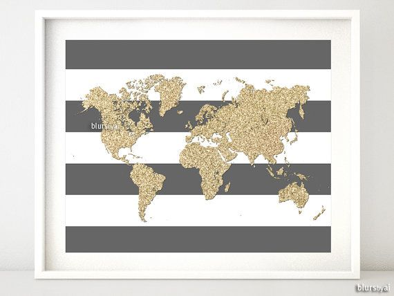 Instant download 10x8 printable world map golden glitter map print instant download 10x8 printable world map golden glitter map print gold and stripes gumiabroncs Images