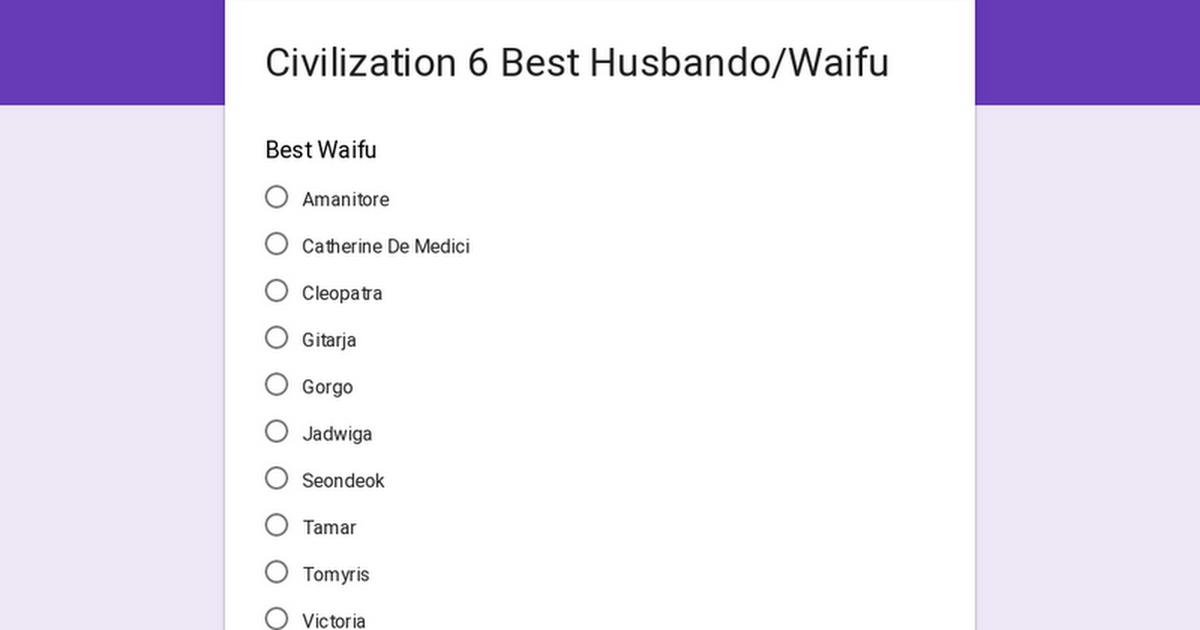 Civilization 6 Best Husbando/Waifu Survey