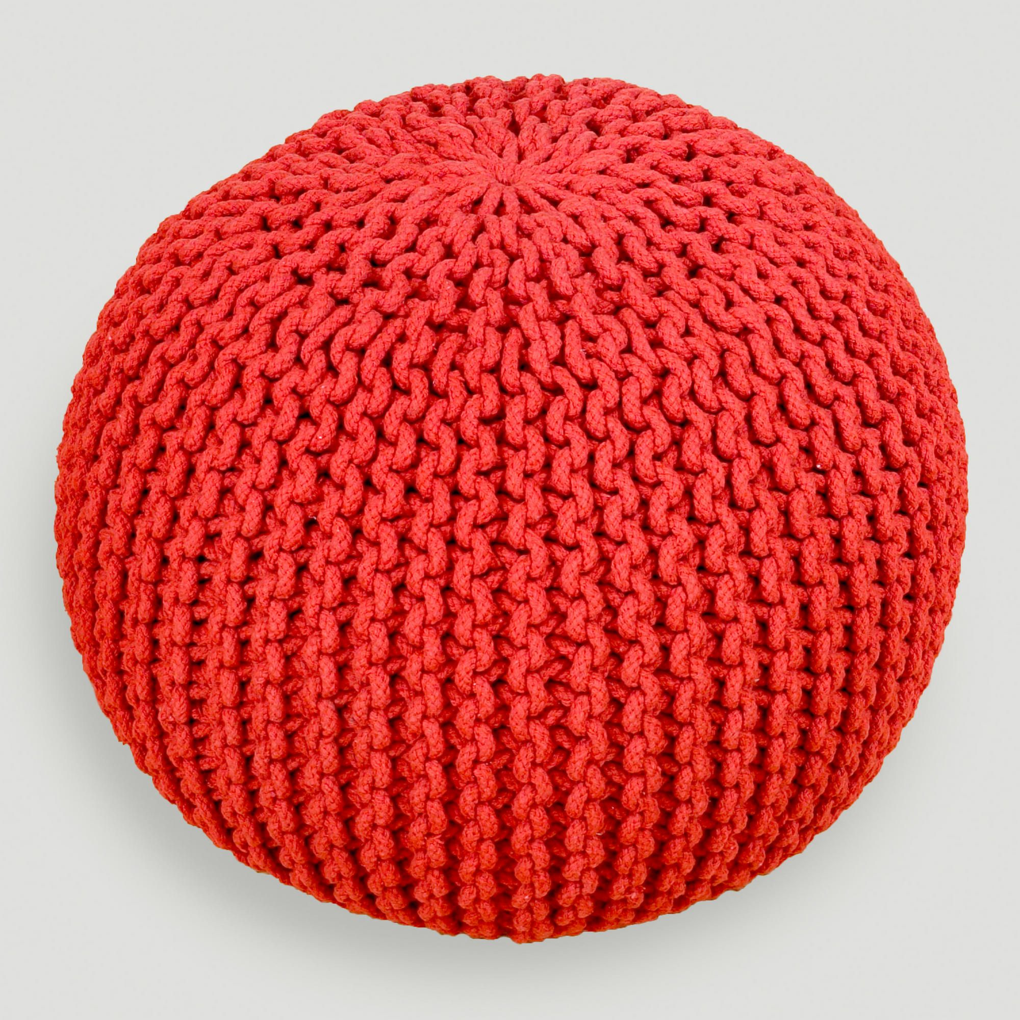 Chili Pepper Knitted Pouf | World Market