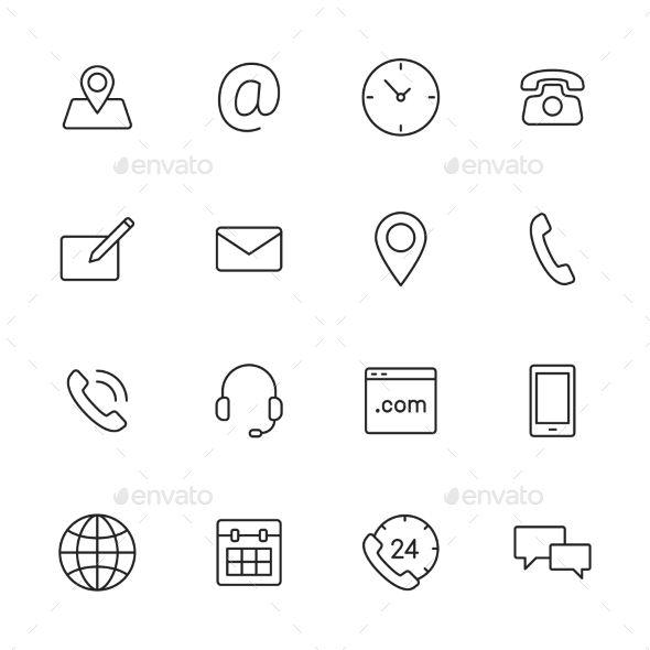 Contact Icons Contact Icons Vector Line Icon Calendar Icon