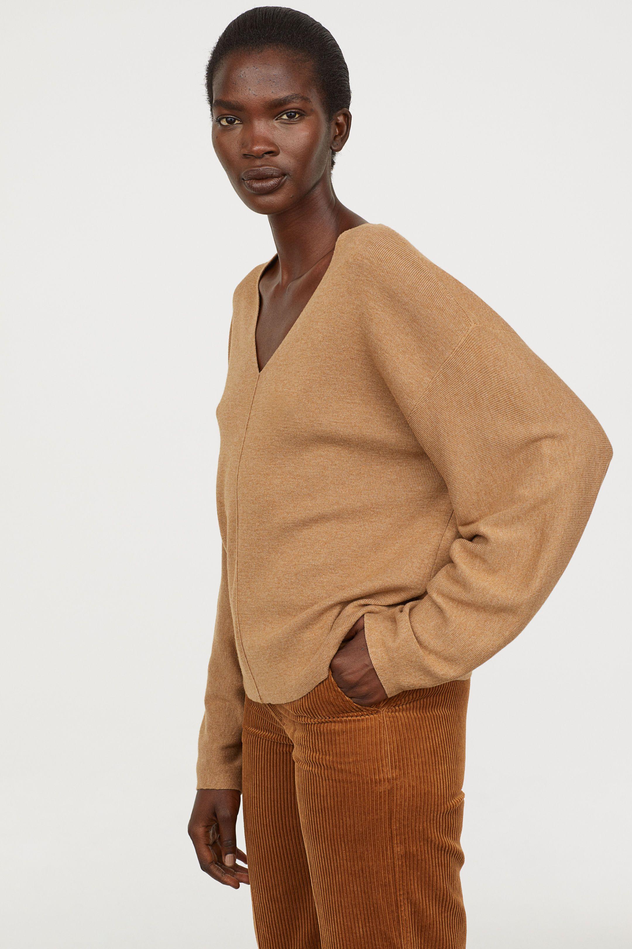 7d193e29d8a086 Fine-knit Sweater - Camel - Ladies