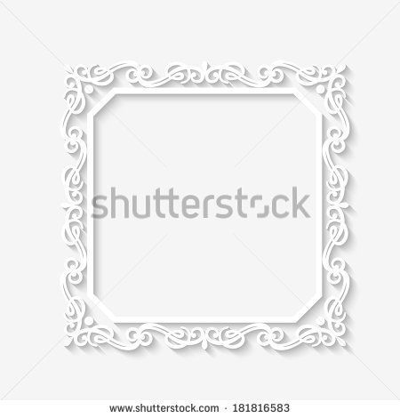 Vector vintage baroque white frame with long shadows. Blank square ...