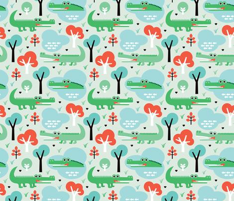 Colorful Fabrics Digitally Printed By Spoonflower Cute Colorful Crocodile Alligator Jungle Zoo Adventure Illustration Pattern Fabric Patterns Design Fabric Wallpaper Fabric