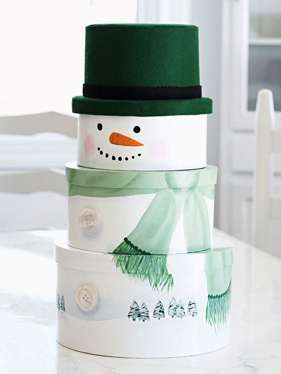 Three papier-mache boxes stack up into one decoration: a handsome snow fellow perfect for filling with cookies and holiday goodies.