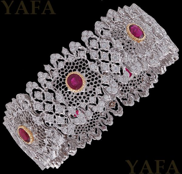 "Vintage 18k white and yellow gold diamond and ruby bracelet, signed Buccellati.  Approximately 7"" long x 1"" wide"