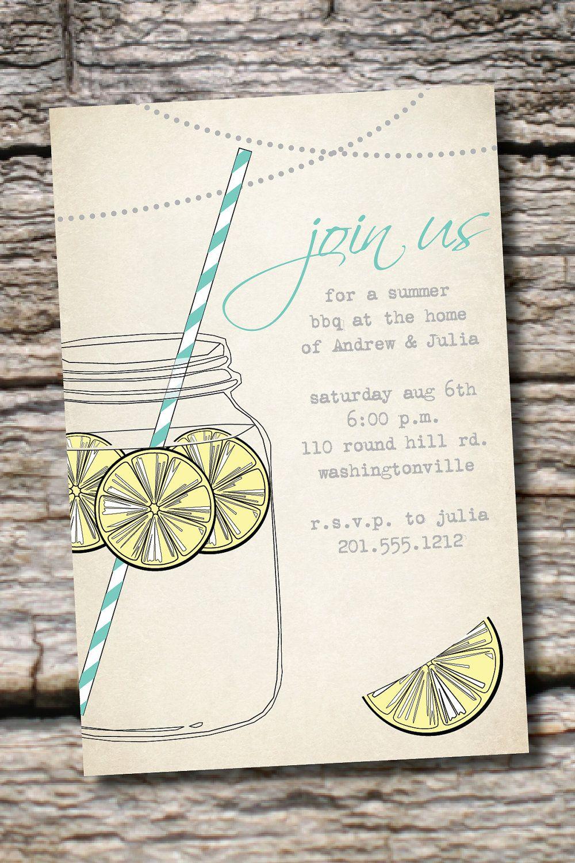 VINTAGE Mason Jar BBQ Lemonade Barbeque Party Engagement Party ...