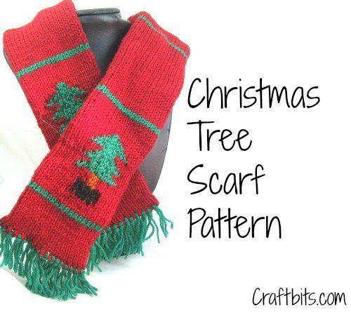 Free Xmas Knitting Patterns For Babies : Children s scarf christmas tree free knitting pattern
