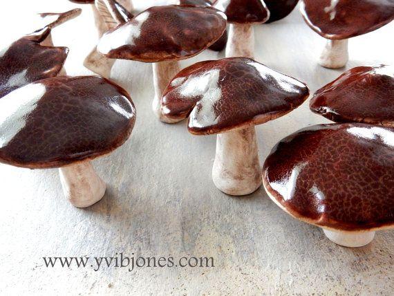 3 Pcs Realistic Ceramic Mushrooms Unique Home By YviBJonesCeramics