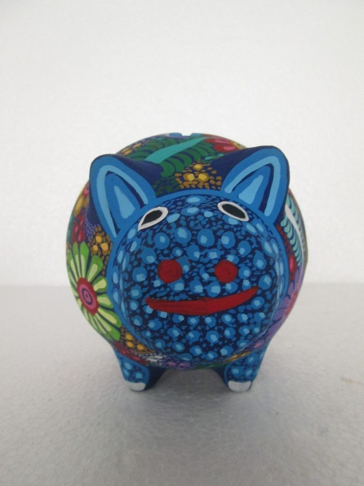Clay Piggy Money Bank Hand Painted Colored Mexican Folk