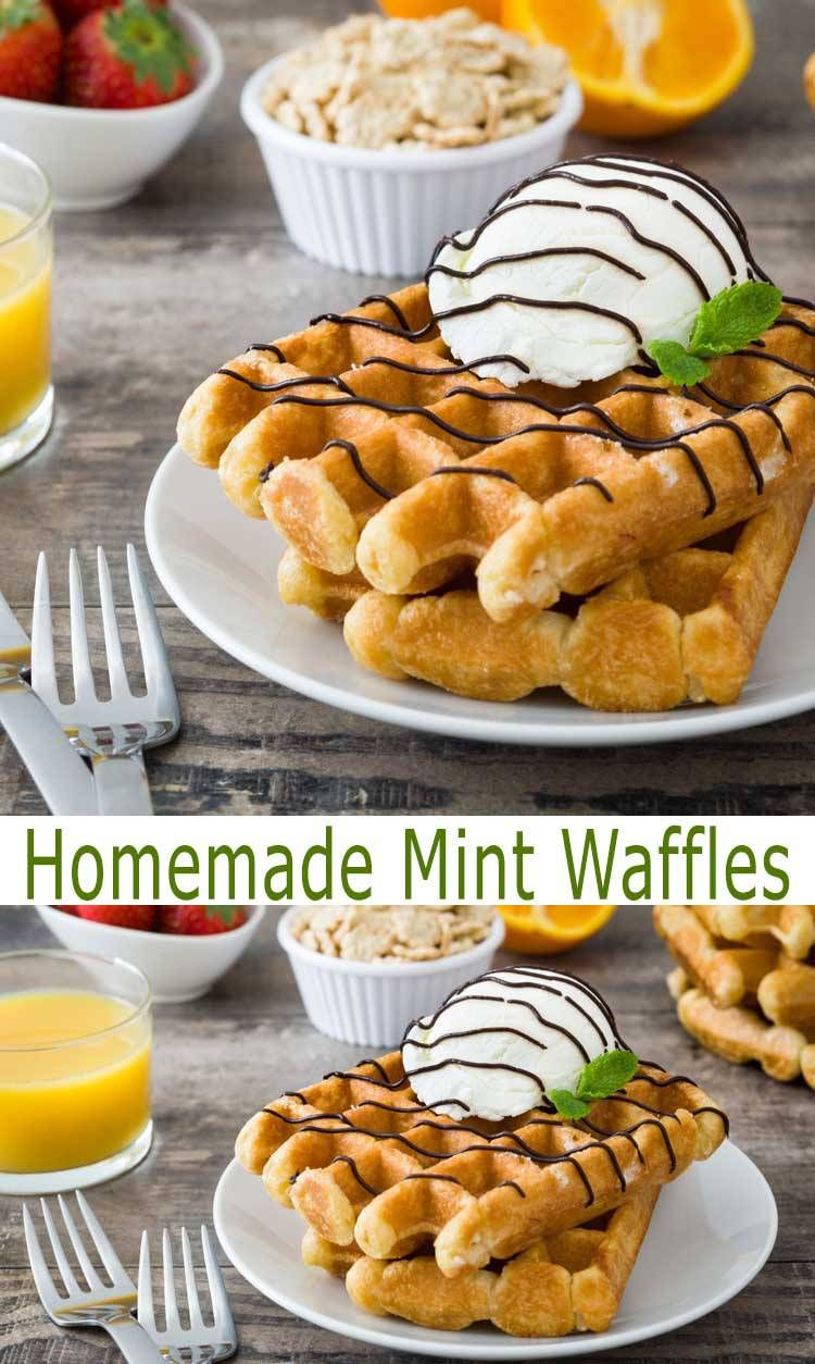 Best Homemade Mint Waffles Recipe. These tasty Mint Waffles are best served with our Mint Chocolate Ganache. You can enjoy this easy waffle recipe for breakfast or make dessert waffles. Either way, you'll love them.
