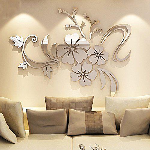Fai Da Te · Wall Sticker Adesivi Murales Carta Da Pareti ¡°Fiori Specchio¡±  Decorazione Murali Da