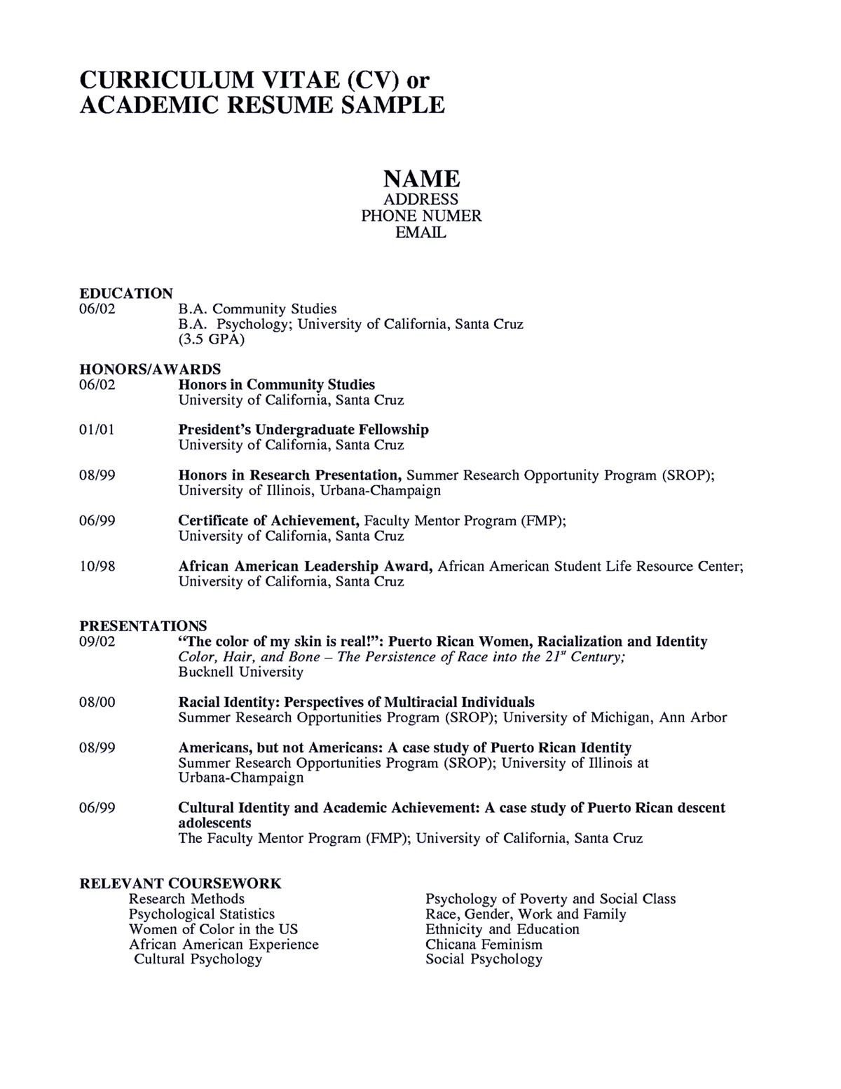 Academic Resume Examples Academic Resume Sample Shows You How To Make Academic Resume