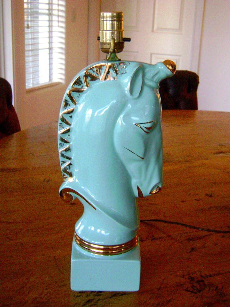 Vintage Art Deco Turquoise Ceramic Unicorn Horse Table Lamp Mint Works Large Lamp Table Lamp Vintage Lamps