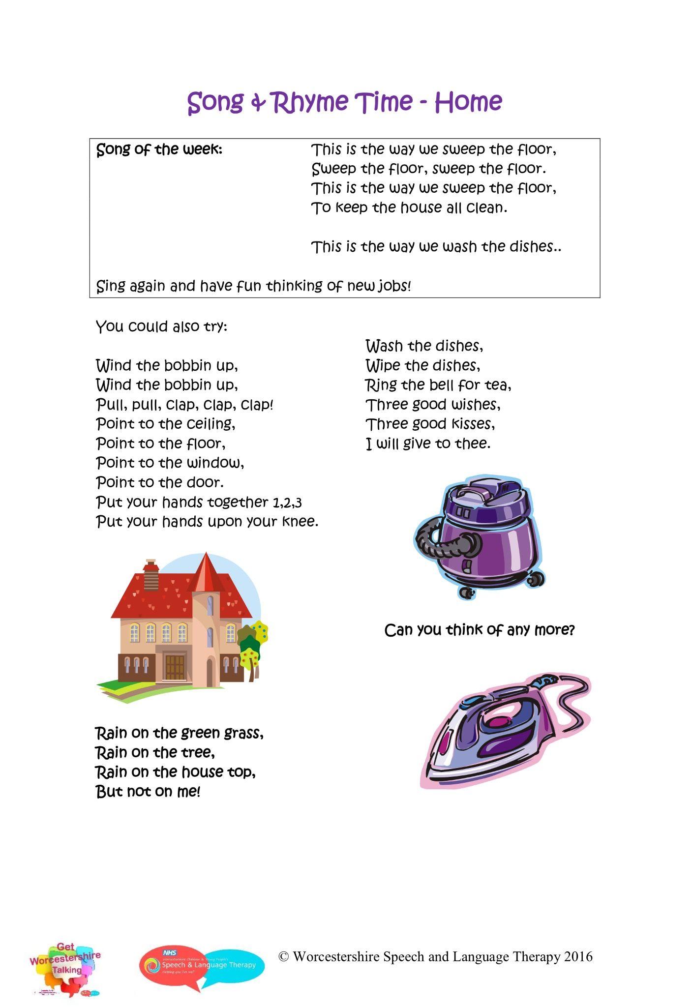 Nursery rhymes Home Rhymes, Phonics, Speech and language