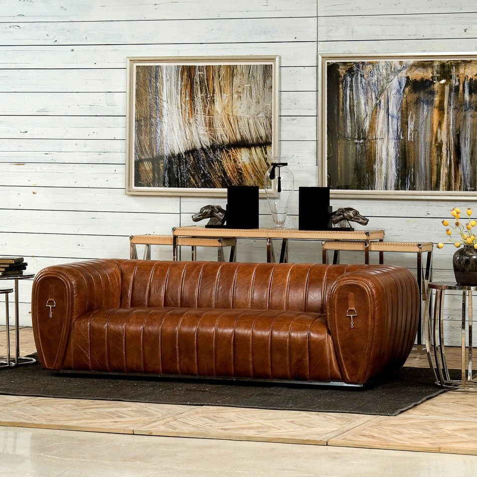 Cuba Brown Leather Club Sofa Modern Style Stainless Steel ...