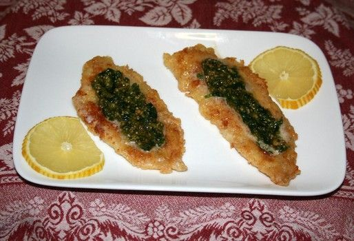 Fillet of Sole with Sunflower Pesto! For the recipe and how-to pictures go to the Facebook page called The Food of Downton Abbey!