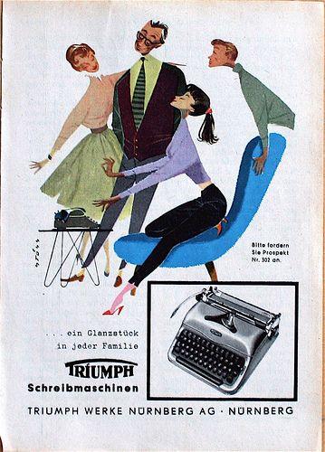Prized Possession (from allerleirau, via Iconoclassic) #MCM #typewriter #Triumph #MidCentury #illustration