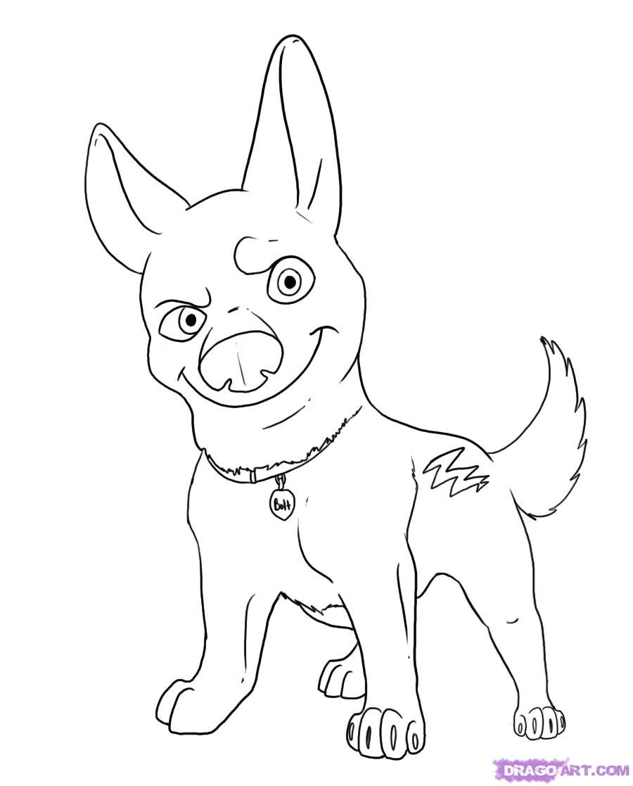 How to Draw Bolt, Step by Step, Disney Characters, Cartoons, Draw ...